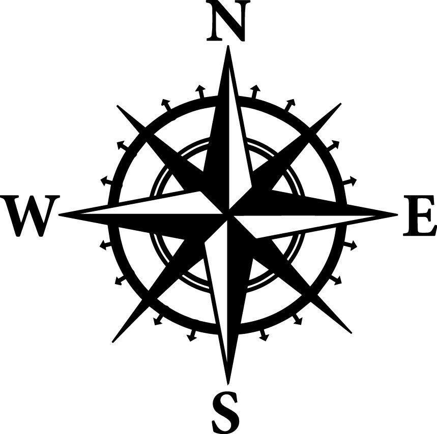 Compass Decal Window Bumper Sticker Car North South East ... on ( ̄︶ ̄)↗  id=34094