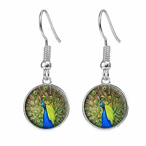 Peacock Silver Plated Costume Jewellery Drop Earrings Birthday Gift C95