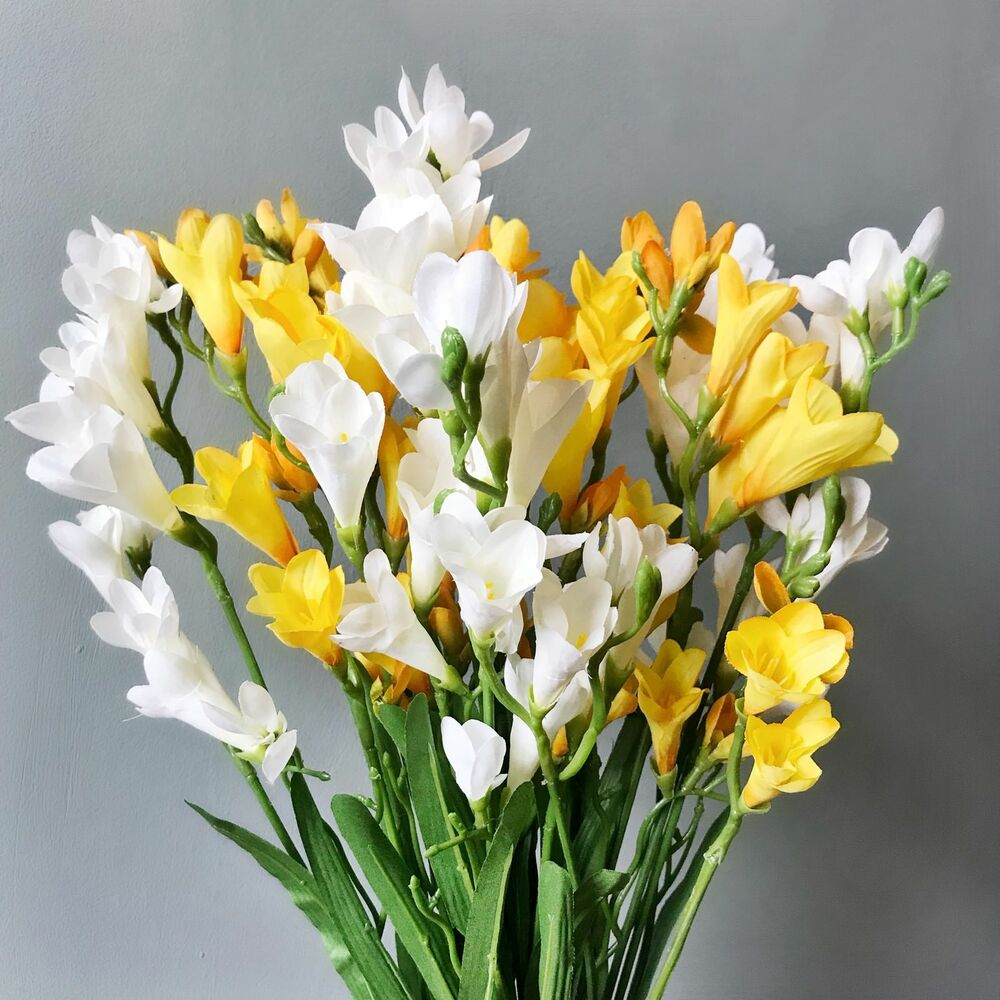 Bunch Of Artificial Yellow White Freesias Realistic Faux Silk