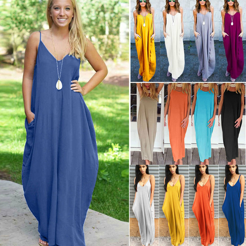 Ladies Gowns: Plus Size Womens Boho Long Maxi Dress Beach Holiday Party