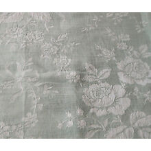 Antique Vintage French Green Roses Lily Valley Floral Damask Linen Cotton Fabric