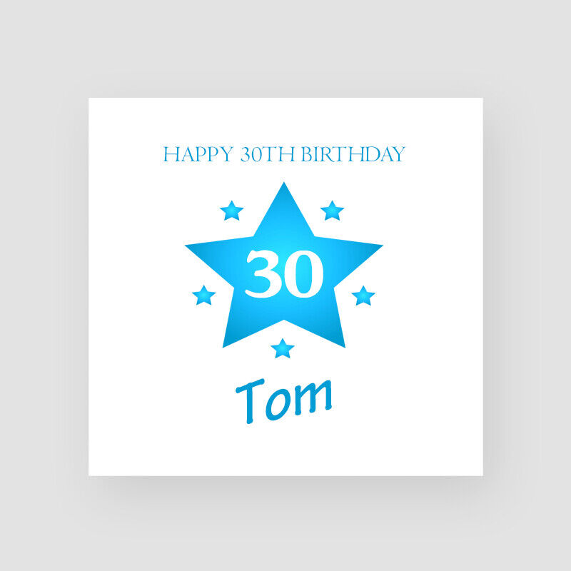 Details About Personalised Handmade Star 30th Birthday Card