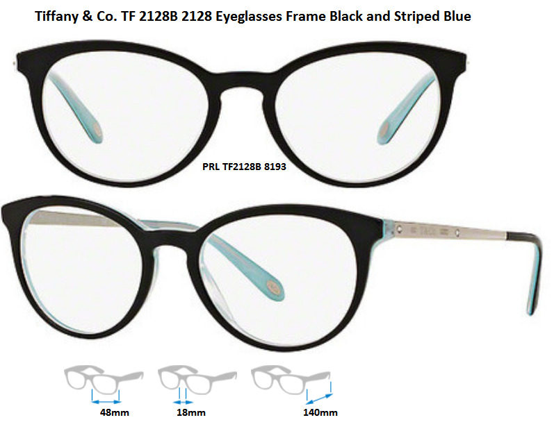 Tiffany & Co. TF2128B 8193 Eyeglass Frames Black/Tiffany Blue Size ...