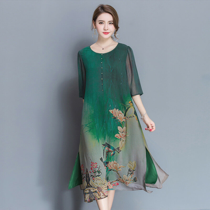 a20ba4c361 Details about Womens Mixed Color Floral Printed Loose Shirt Mid Long Dress  Silk Blend Tops J61