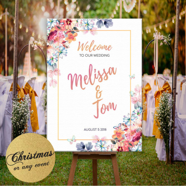 Personalised Welcome To Our Wedding Sign Poster Floral & Rose Gold Effect