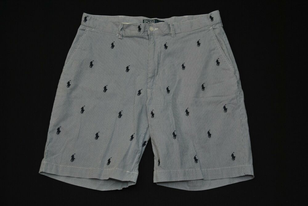 Polo Ralph Lauren All Over Logo Shorts Seer Sucker Sz 35 Critter