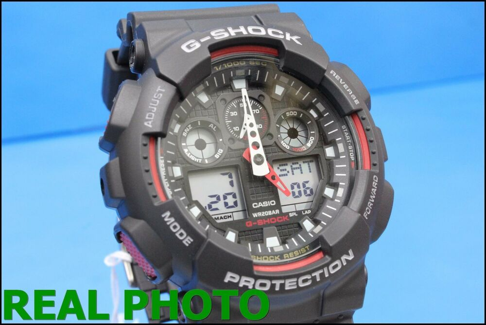 21a74ad7a03a Details about GA-100-1A4 Black Red G-shock Casio Watches 200m Resin Band Analog  Digital New