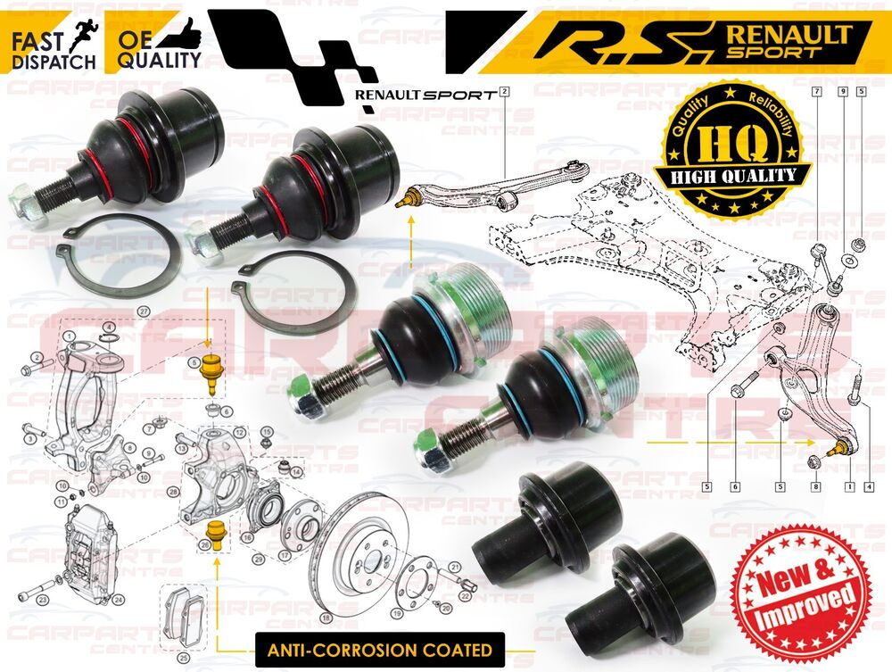 for renault clio 197 200 megane mk3 rs sport top bottom hub arm ball joint pivot