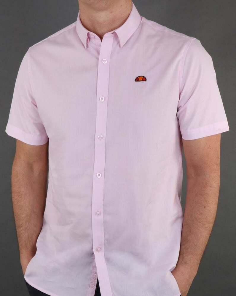 e69631ccb298a Details about Ellesse Castello Button Down Short Sleeve Shirt in Light Pink  - cotton summer