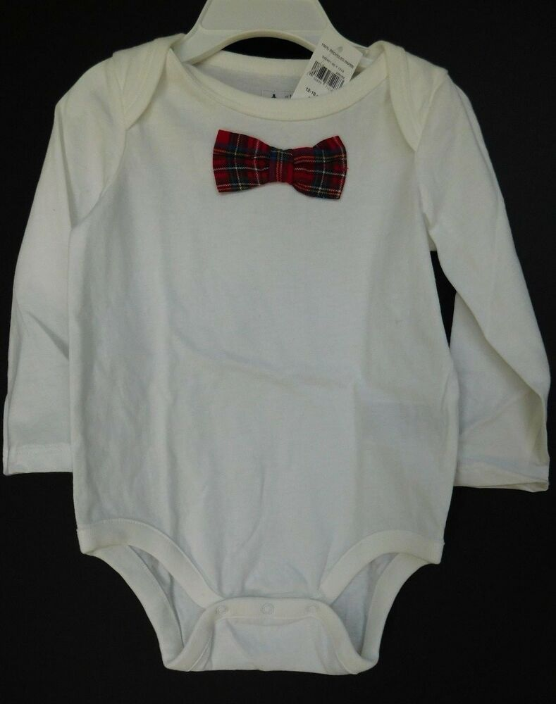 NWT Gap Baby Boy Toddler Bodysuit Red Plaid Bow Tie Sizes 3-6M  6-12M 18-24M
