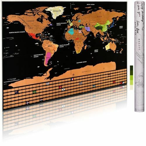 Large Travel Tracker Scratch Off World Map Poster With Country Flags