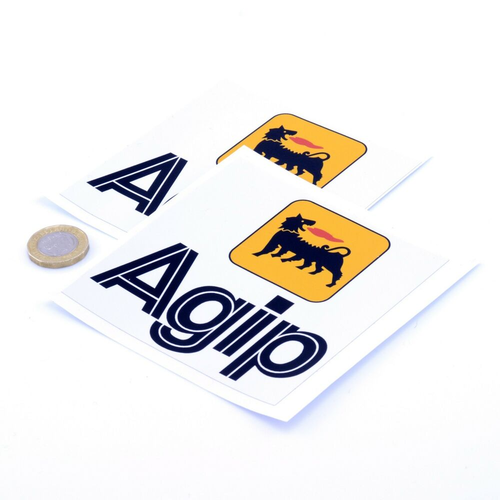 Details about agip oil stickers classic car motorcycle racing sticker vinyl decals 100mm x2