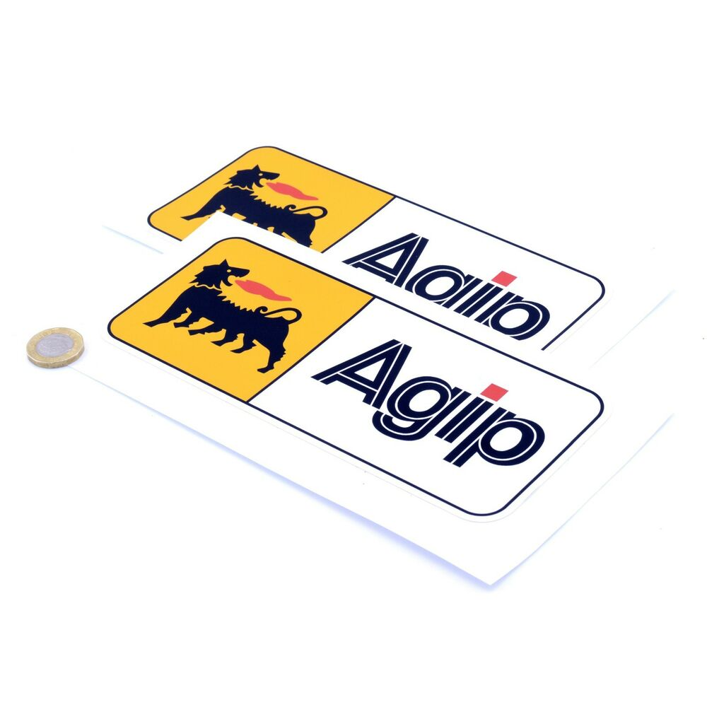 Details about agip oil stickers classic car motorcycle racing sticker vinyl decals 200mm x2
