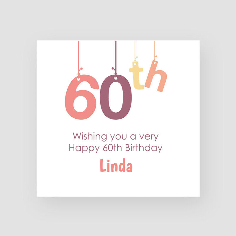 Details About Personalised Handmade Dangle 60th Birthday Card