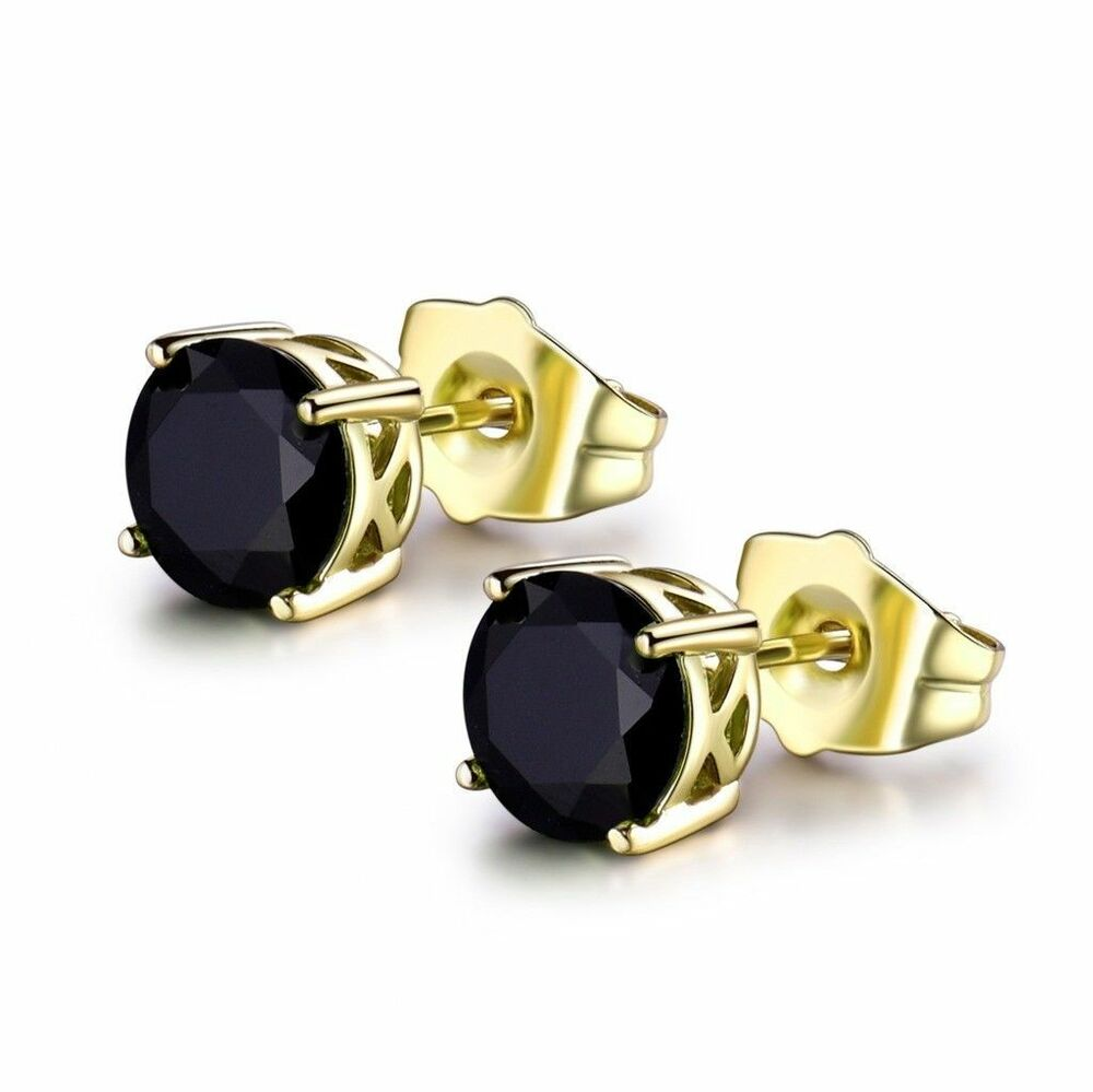 5f46999be Details about Yellow Gold Filled Black Sapphire Crystal Round Stud Earrings  Jewellery 7mm