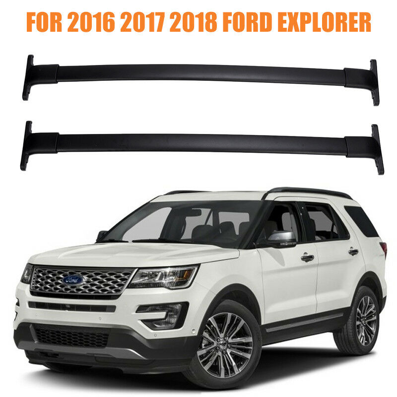 Details About New For 2016 2017 2018 Ford Explorer Roof Rack Cross Bars Kit Pair Rails Oe Type
