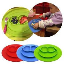 Colorful Baby Silicone Placemat Suction Plates One-Piece Feeding Dishes Bowl