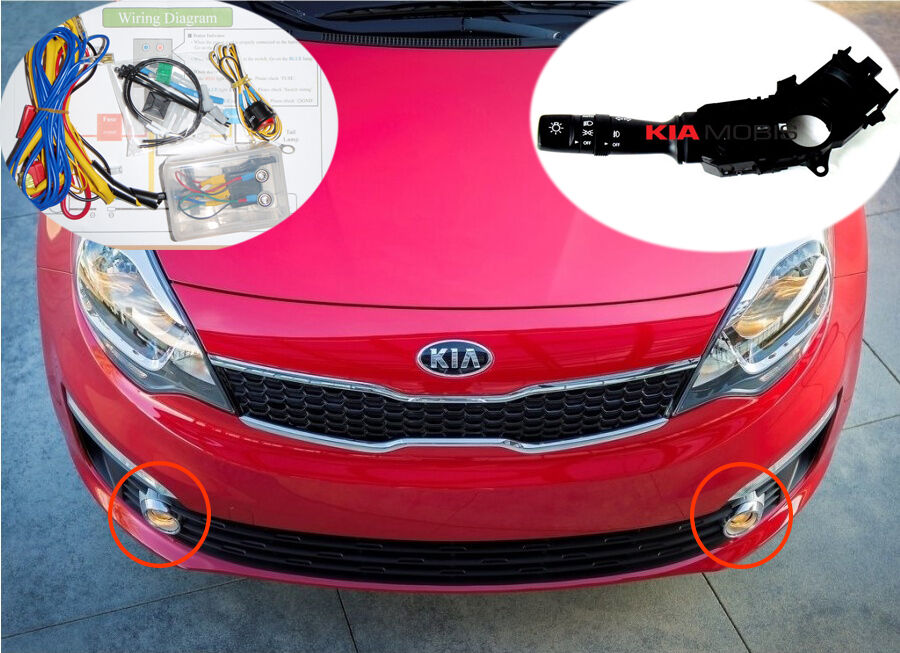 details about fog lamp light & chrome cover & harness & mf switch for 2016  2017 kia rio 4door