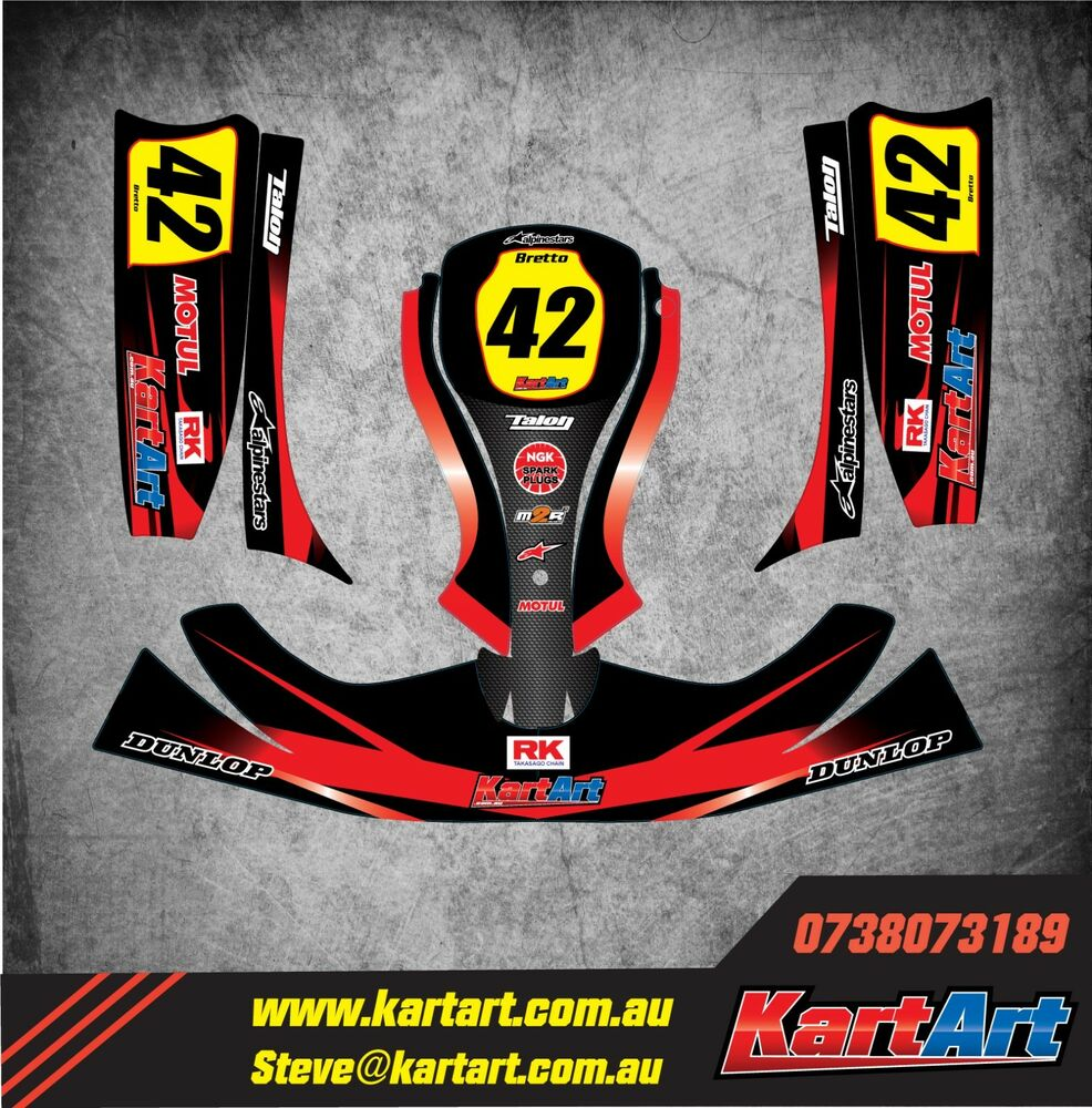 Details about birel rk go kart full custom kart art sticker kit thunder style