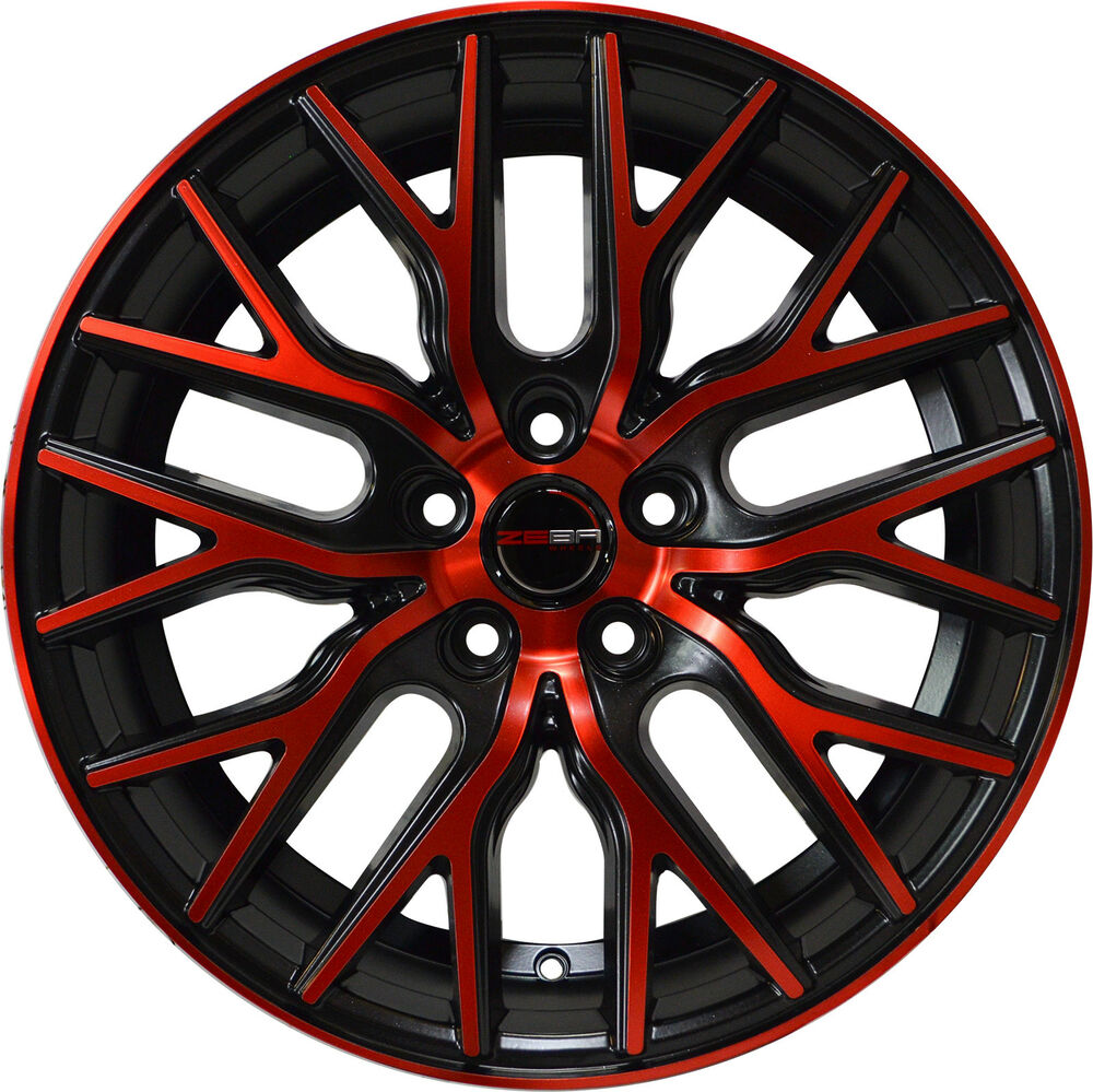 4 GWG Wheels 18 Inch Black Red Face FLARE Rims Fits ACURA