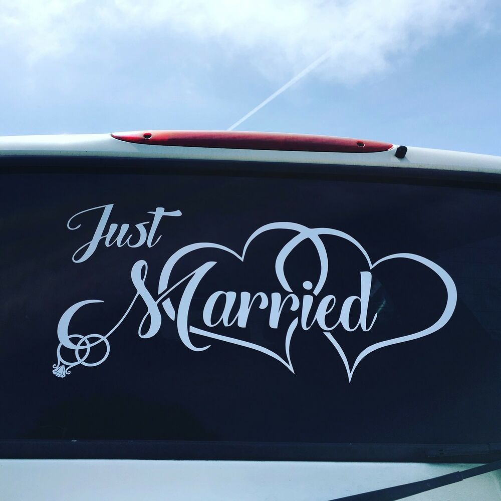 Details about just married car window decal sticker heart wedding