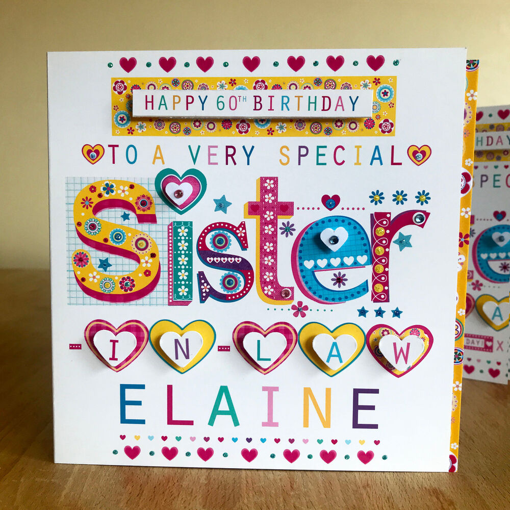 Details About Sister In Law Birthday Card Personalise Special For