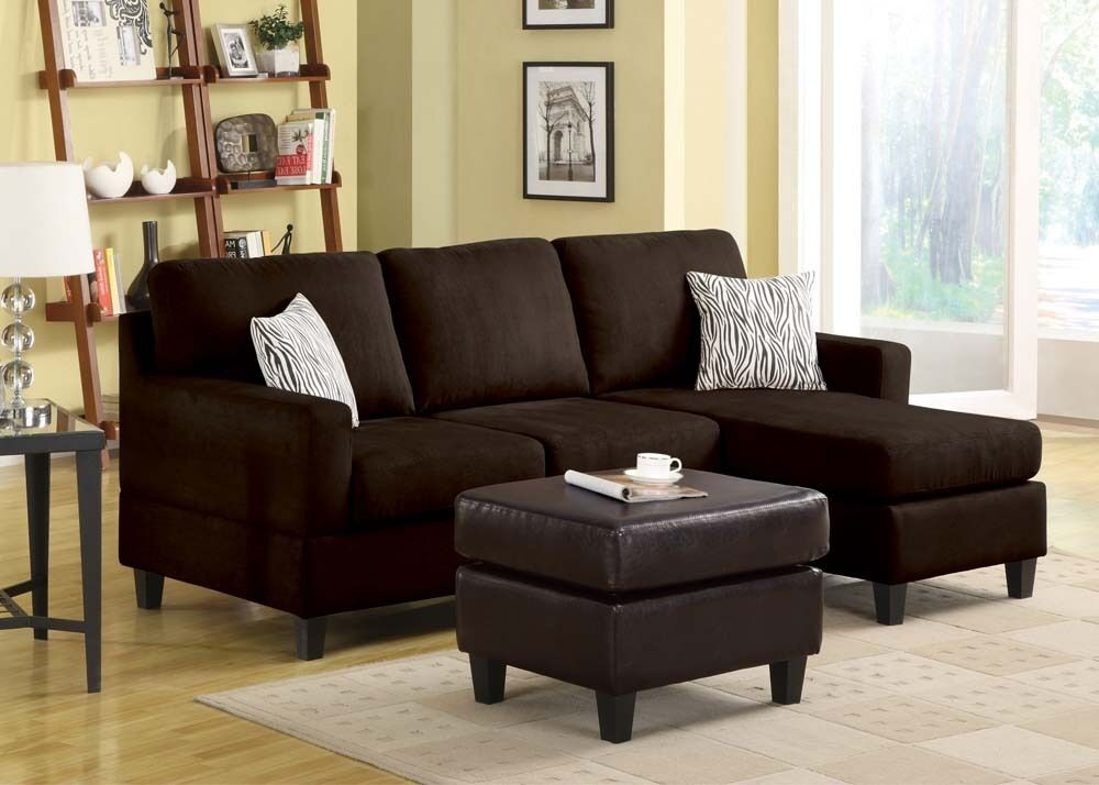Vogue Chocolate Microfiber Sectional Set Sofa Chaise