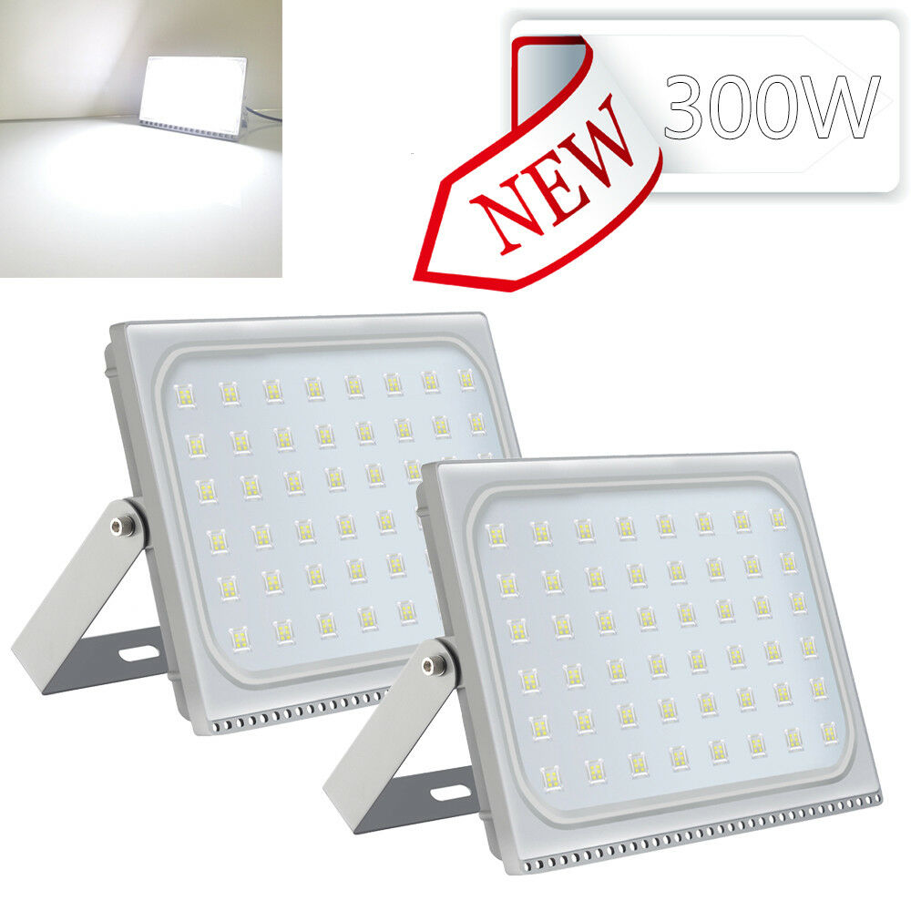 3 Set 300W LED Flood Light Cool White Outdoor Security
