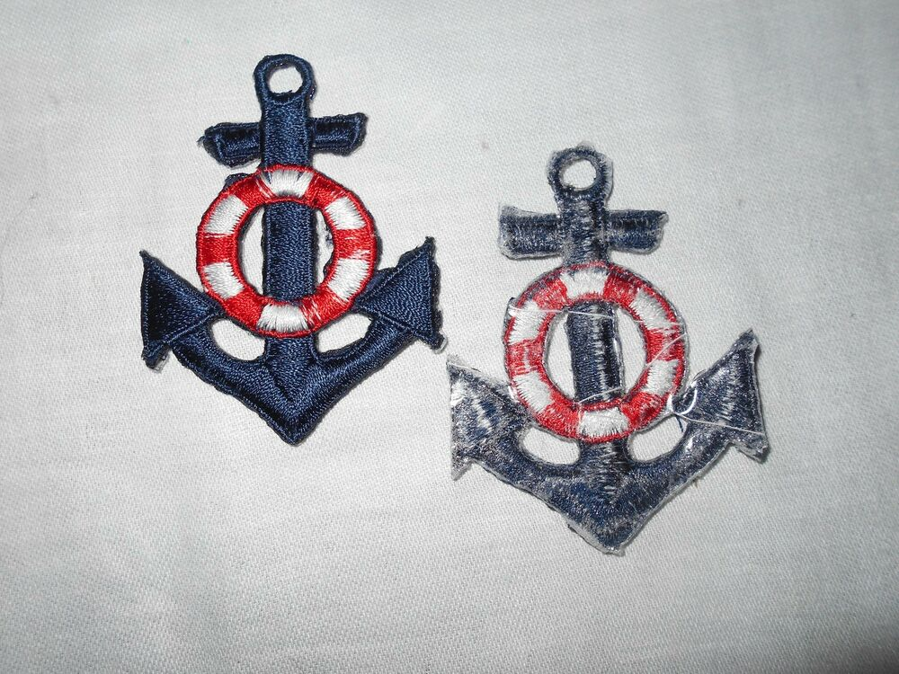 S m l maritime nautical anchor embroidered iron sew on applique