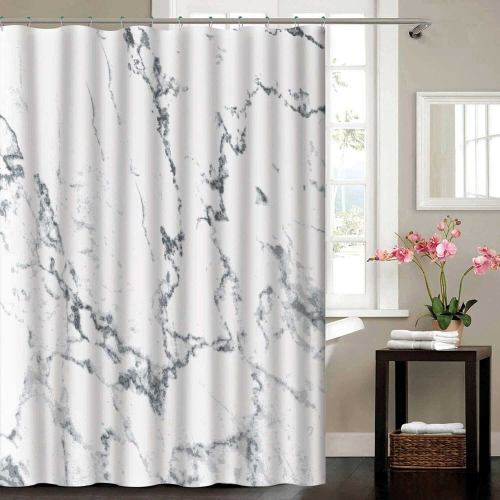 Details About Madison Marble Effect Polyester Shower Curtain 180 X 180cm