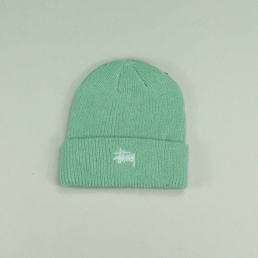 ab7a3caf4fb Stussy Basic Embroidered Cuff Beanie Hat – Mint Green - One size fits all