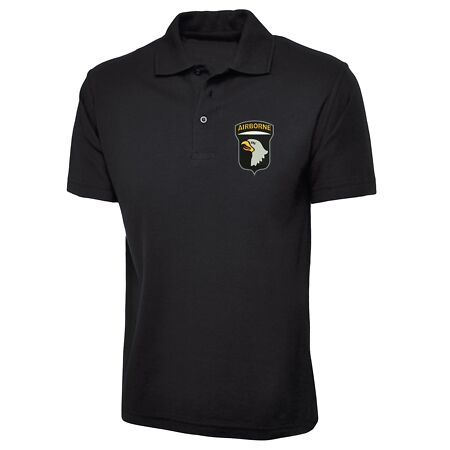 img-101st Airborne Division Polo Shirt, USA Army Inspired Embroidered Polo Top
