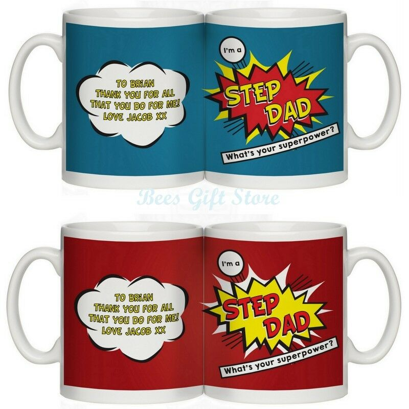 Personalised STEP DAD Mug Gift Idea For My On His Birthday Gifts