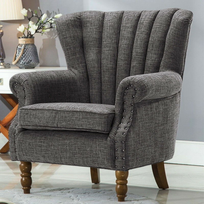 Occasional wing chair high back fabric linen tub armchair - High back wing chairs for living room ...
