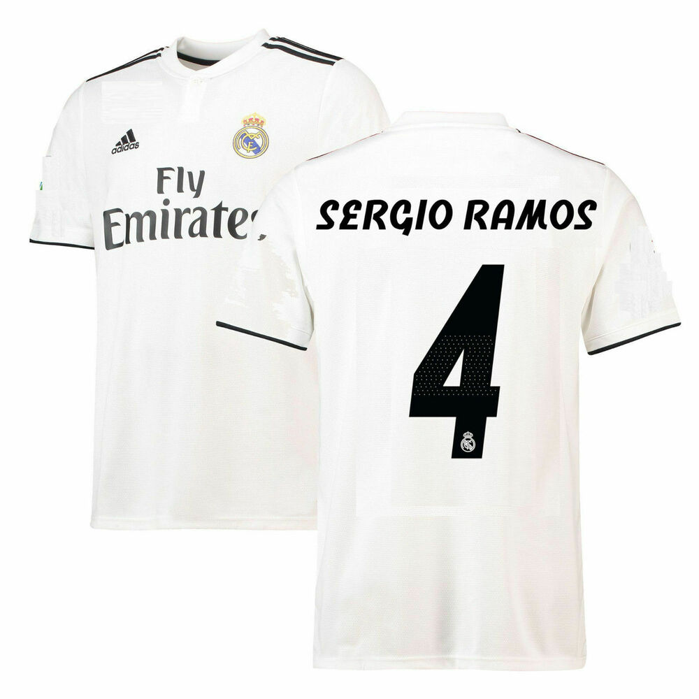 77e2e479b6f Details about adidas Real Madrid 2018 - 2019 Sergio Ramos # 4 Home Soccer  Jersey Kids - Youth
