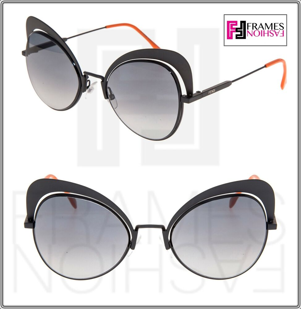 f96f47c22a Details about FENDI EYESHINE FF0247S Matte Black Coral Metal Sunglasses  Round Runway 0247