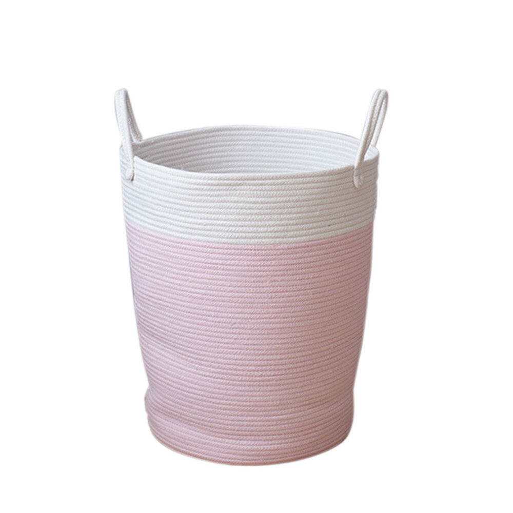 Details About Cotton Rope Basket Baby Kids Laundry Woven Nursery Bin Pink L