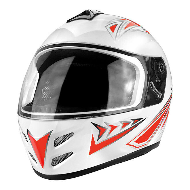 f29a1485 Details about Full Face White & Red Motorcycle Helmet With Clear Flip Up  Visor - DOT Approved