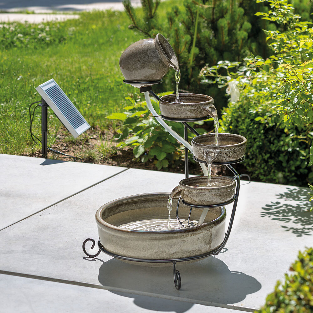 solar kaskadenbrunnen mit akku led springbrunnen gartenbrunnen esotec 101300 ebay. Black Bedroom Furniture Sets. Home Design Ideas
