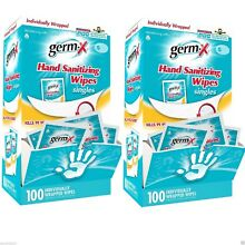 200 Germ X Hand Sanitizing Wipes Singles Individually Wrapped **Free Shipping**