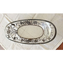 Antique OVERLAY STERLING SILVER OVAL PLATE Glass with Butterflies and Flowers