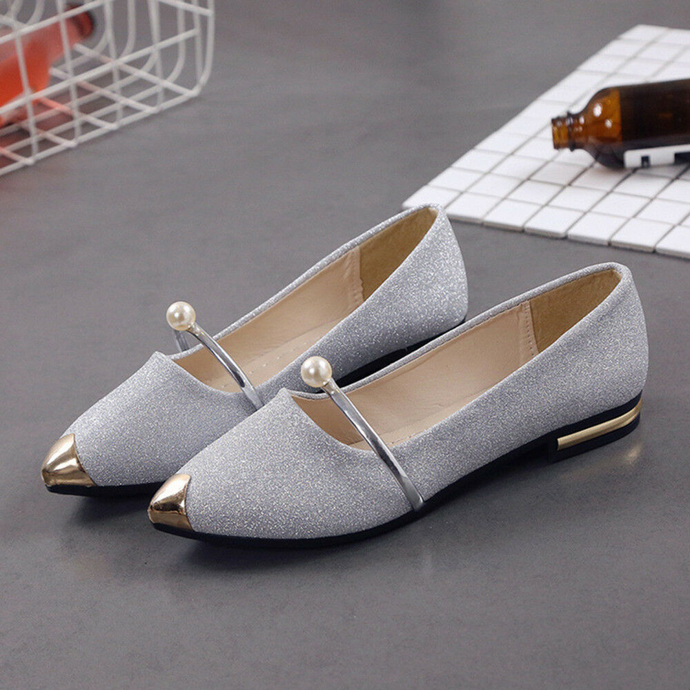 2aa78a8c03b9 Details about Fashion Women Pointed Toe Flat Heel Shoes Slip On Low Heel  Loafers Ballet Flats