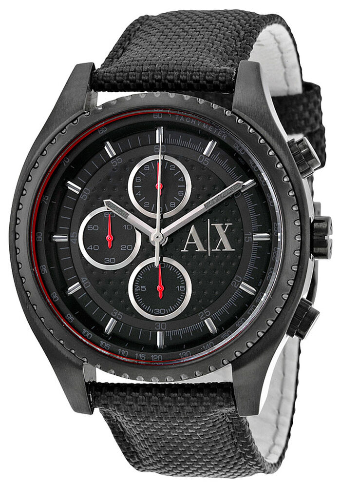 6ffe6f893e9 Details about Armani Exchange AX1610 Black Dial Black Nylon Strap  Chronograph Men s Watch