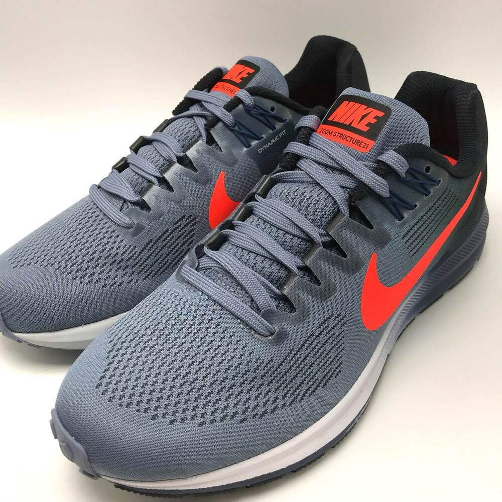 check out 138c8 fe9bd Details about Nike Air Zoom Structure 21 Men s Running Dark Sky Blue Total  Crimson 904695-406