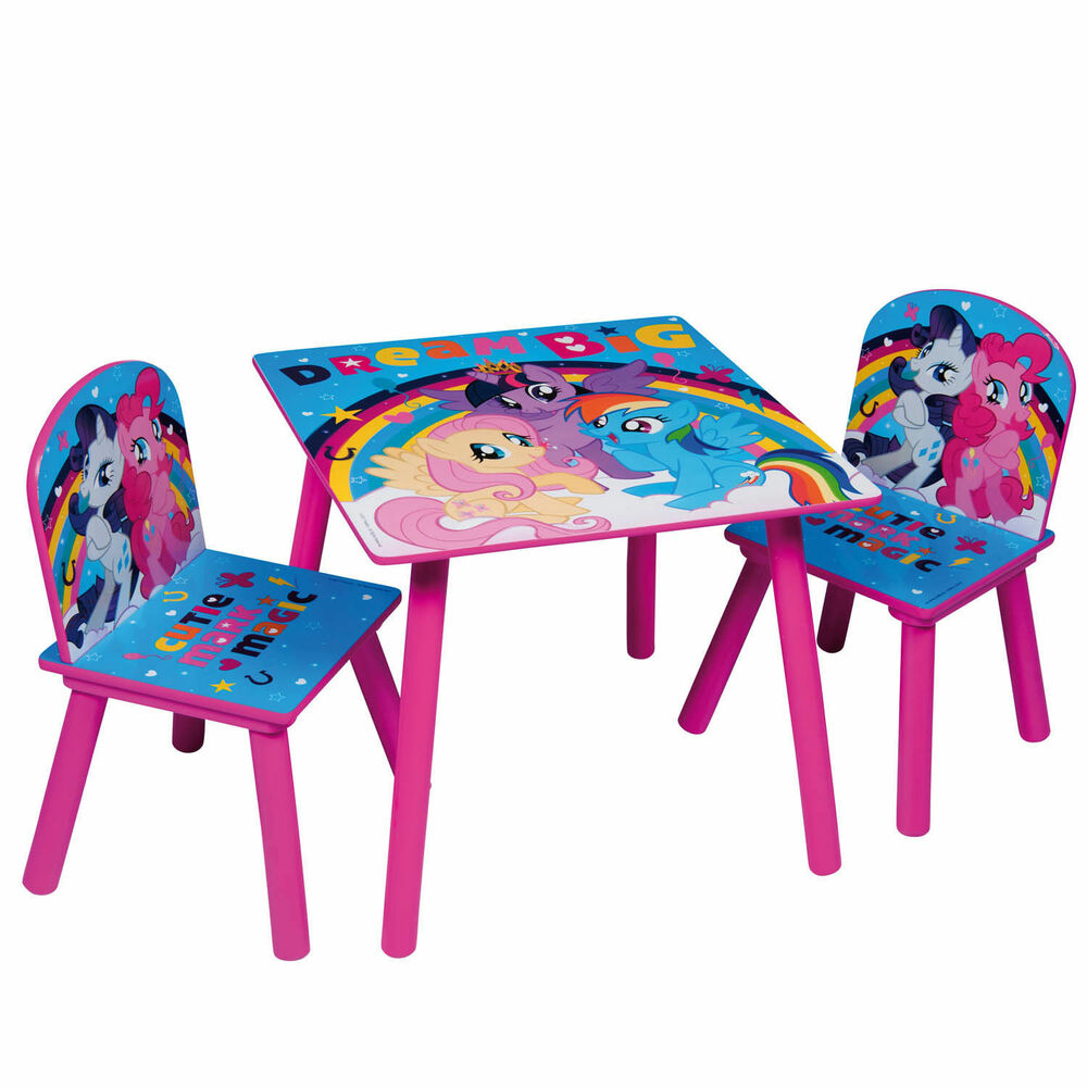 My Little Pony Childrens Wooden Table And Chair Set Kids