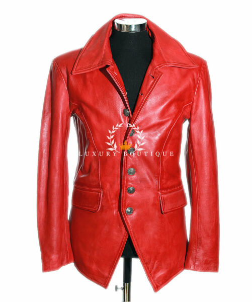 Lucifer Red Men's Smart Gothic Style Real Lambskin Leather Blazer Shirt Jacket