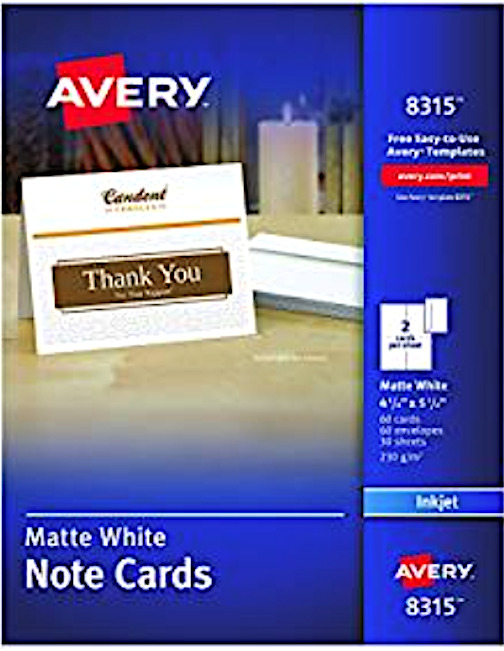 nob avery 8315 note cards for inkjet printers  4 1  4 x 5 1