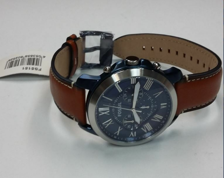 0647546eecc7 Fossil FS5151 Grant Quartz Stainless Steel   Brown Leather Strap Men s Watch