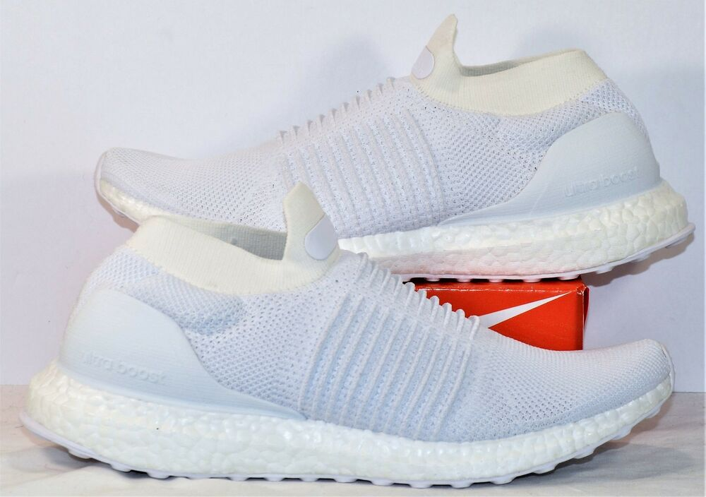 d84baee7a Details about Adidas Ultra Boost Laceless Triple White Running Shoes Sz 8.5  NEW S80768