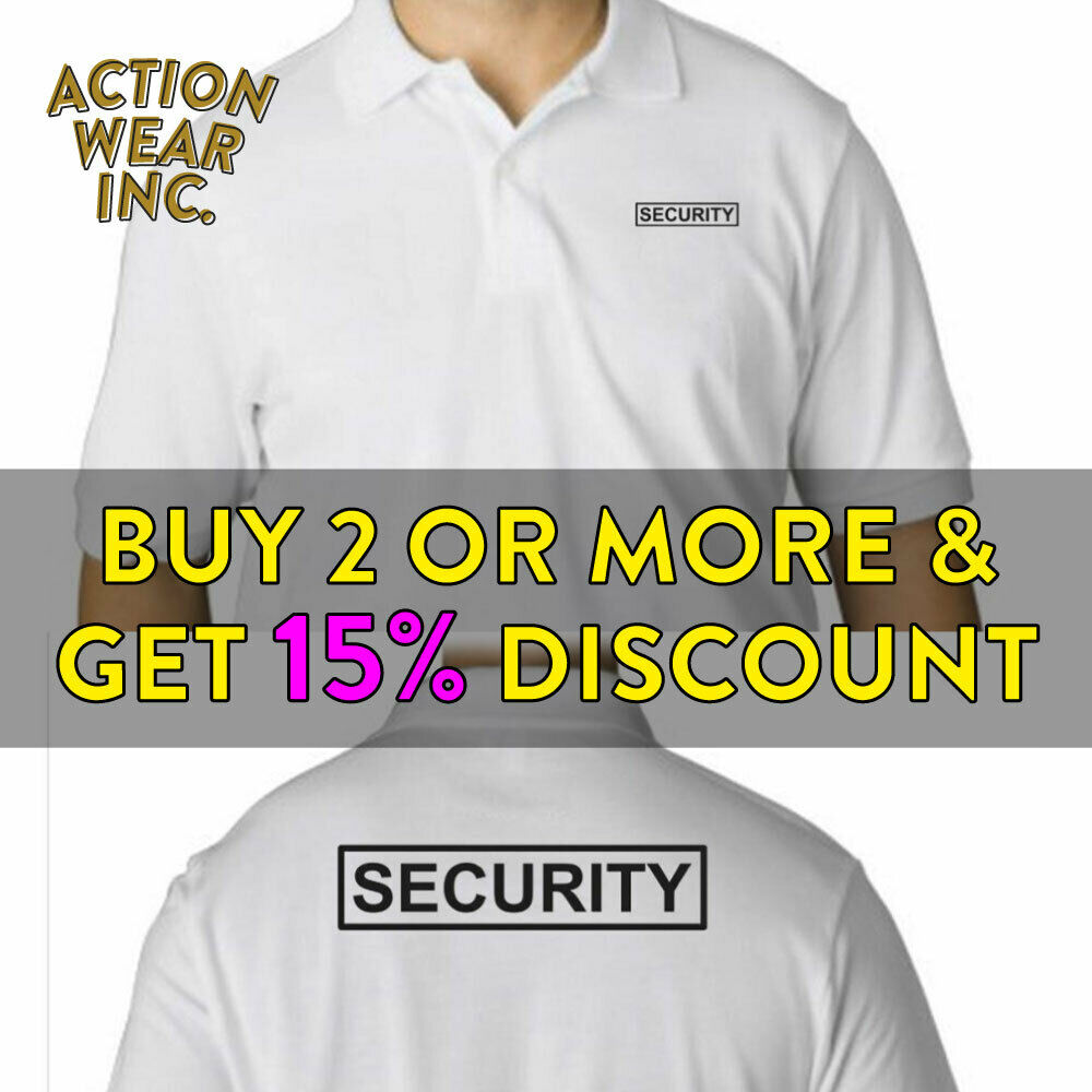 Mens Security Polo T Shirt Guard Shirts Tee Law Enforcement Safety